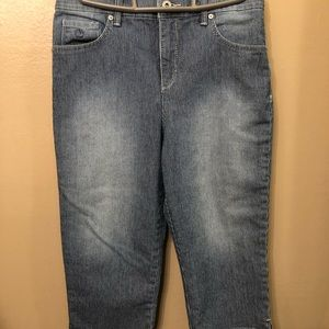 👖 Size 8P Striped Stretchy Cropped Jeans 👖